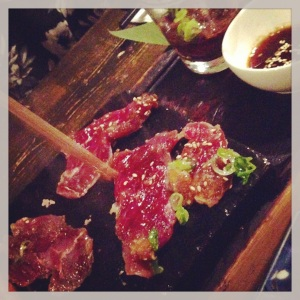 Imadake special yakiniku (beef grilled on a stone at your table)