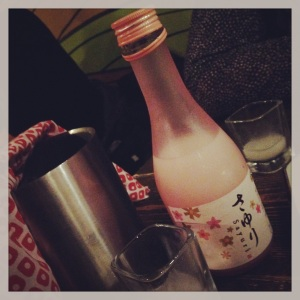 Pink bottle sake